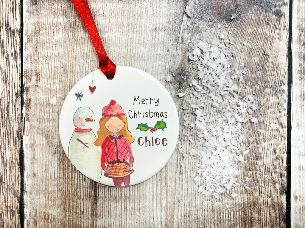 Girl and Snowman Christmas Ceramic Bauble