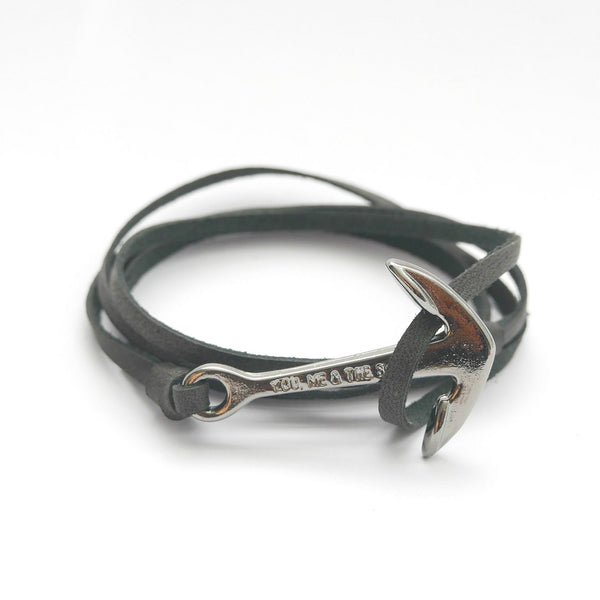 Nautical leather bracelet with a black anchor and the band in black.
