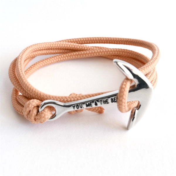 Nautical Rope Bracelet Anchor Silver Peach