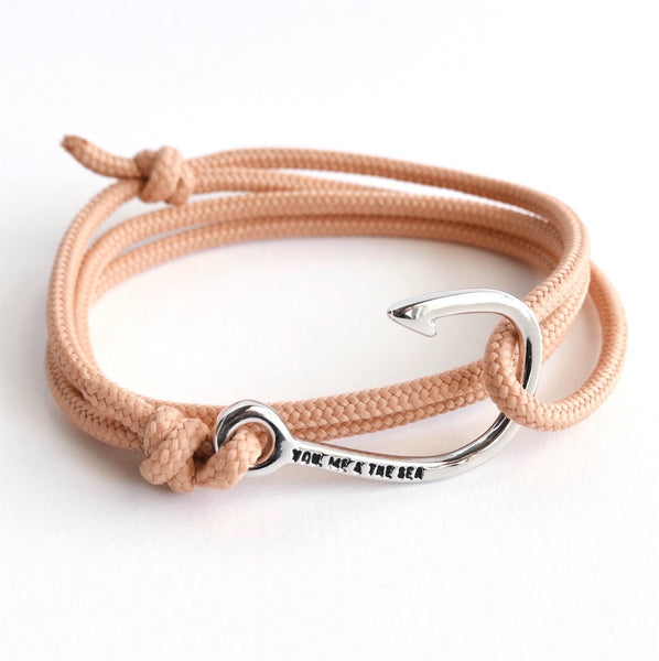 Nautical Rope Bracelet Hook chrome Peach