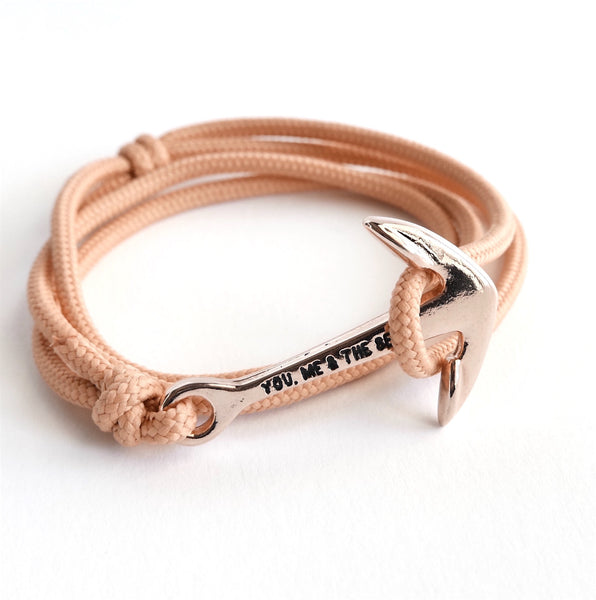 Nautical Rope Bracelet Anchor Rose Peach