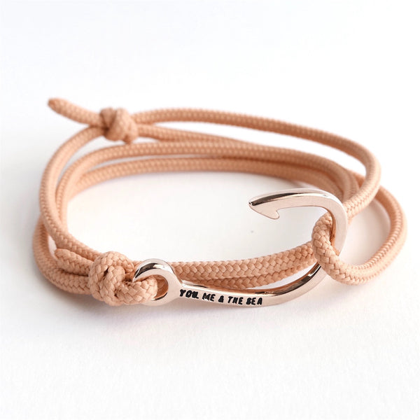 Nautical Rope Bracelet Hook Rose Peach