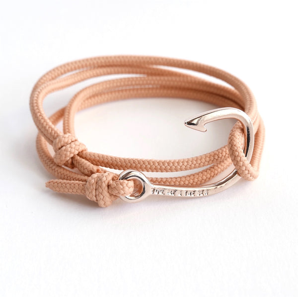 Nautical Rope Bracelet Hook Fine Rose Peach