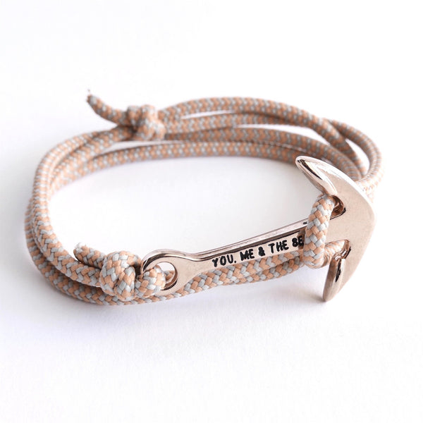 Nautical Rope Bracelet Anchor Rose Grey Peach Stripe