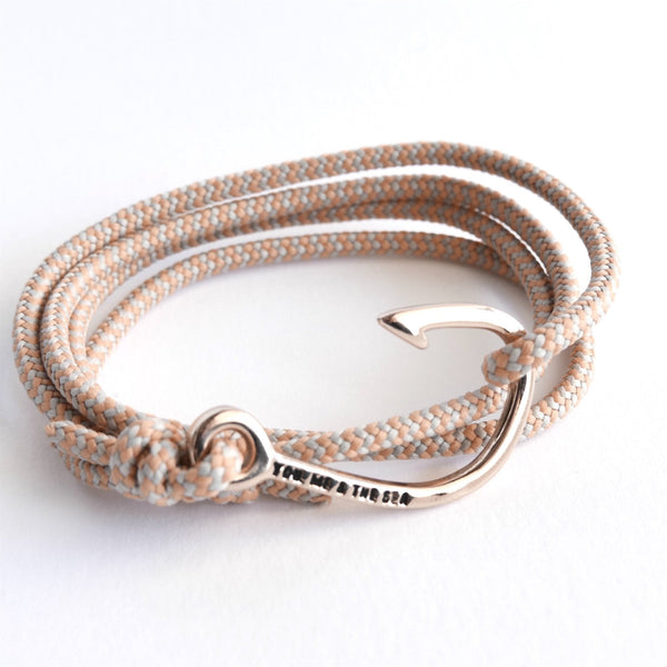 Nautical Rope Bracelet Hook Rose Grey Peach Stripe