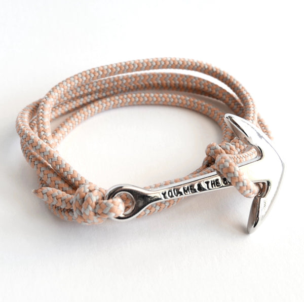 Nautical Rope Bracelet Anchor Silver Grey Peach Stripe