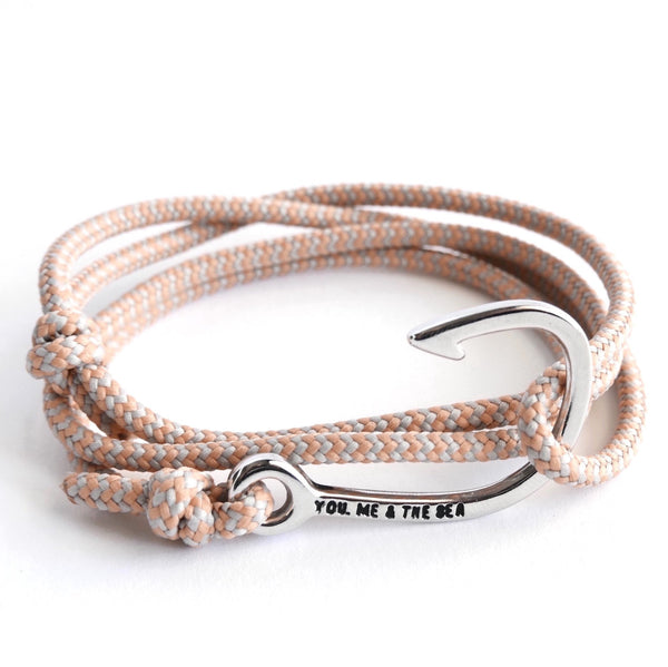 Nautical Rope Bracelet Hook chrome Grey Peach Stripe