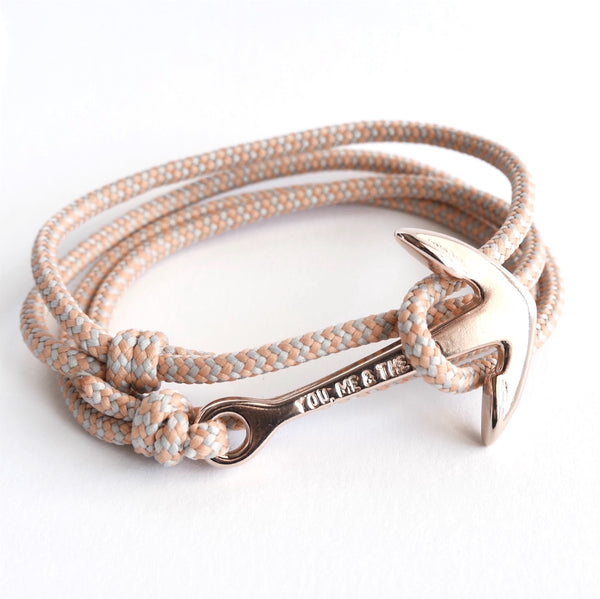 Nautical Rope Bracelet Anchor Fine Rose Grey Peach Stripe