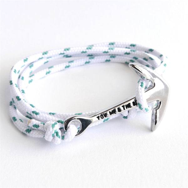 Nautical Rope Bracelet Anchor Silver Ibiza White