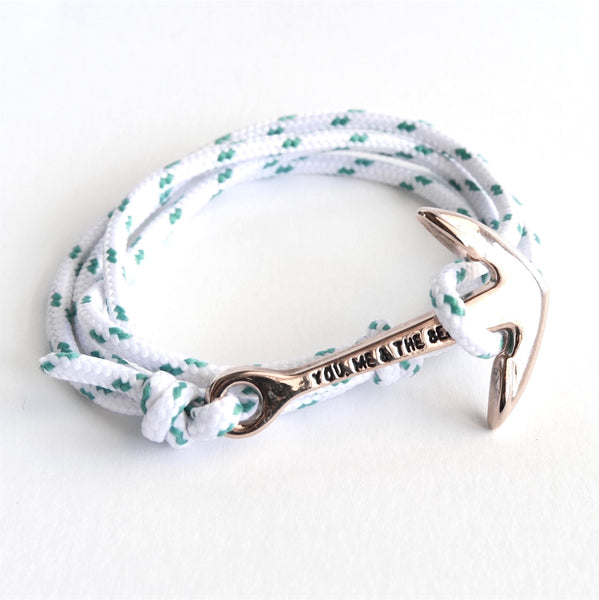 Nautical Rope Bracelet Anchor Rose Ibiza White