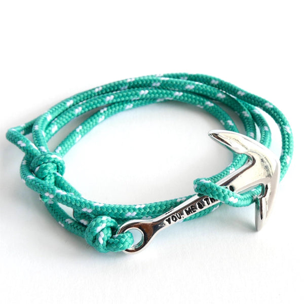 Nautical Rope Bracelet Anchor chrome Ibiza White