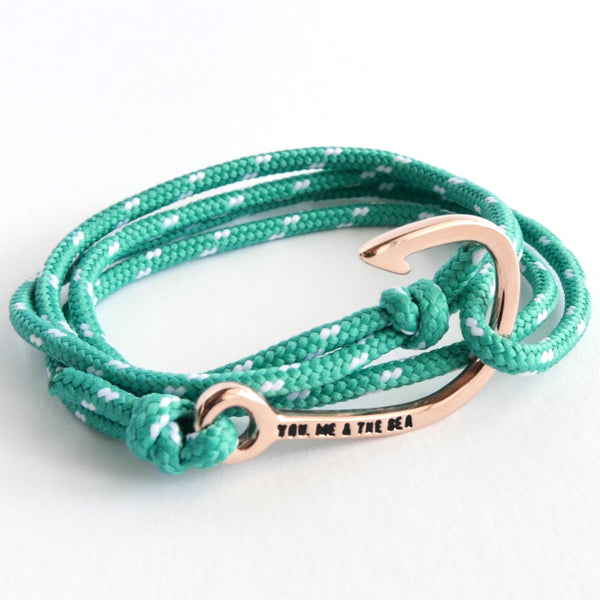 Nautical Rope Bracelet Hook Rose Ibiza White