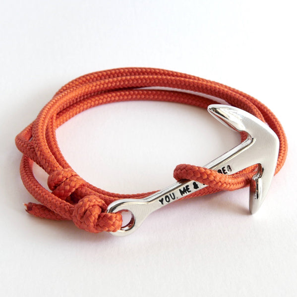 Nautical Rope Bracelet Anchor chrome Terracotta