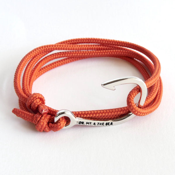 Nautical Rope Bracelet Hook chrome Terracotta