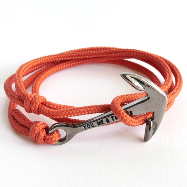 Nautical Rope Bracelet Anchor Black Terracotta