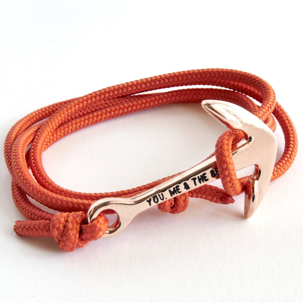 Nautical Rope Bracelet Anchor Rose Terracotta