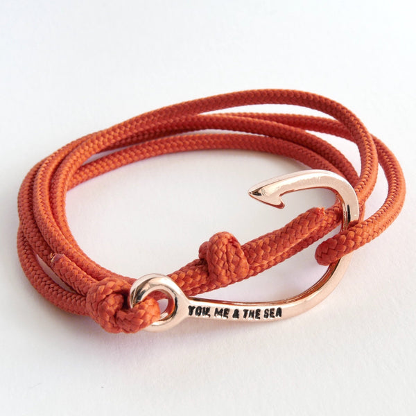 Nautical Rope Bracelet Hook Rose Terracotta