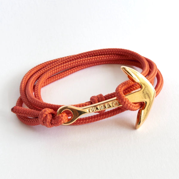 Nautical Rope Bracelet Anchor Fine Gold Terracotta