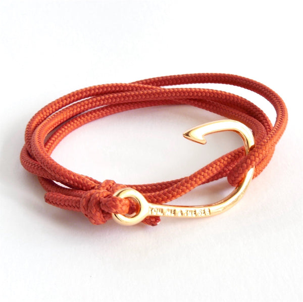 Nautical Rope Bracelet Hook Fine Gold Terracotta