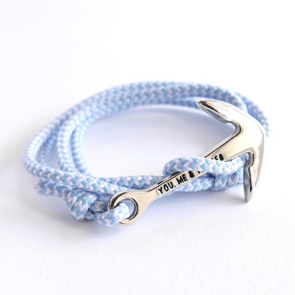 Nautical Rope Bracelet Anchor Silver Powder Blue and White