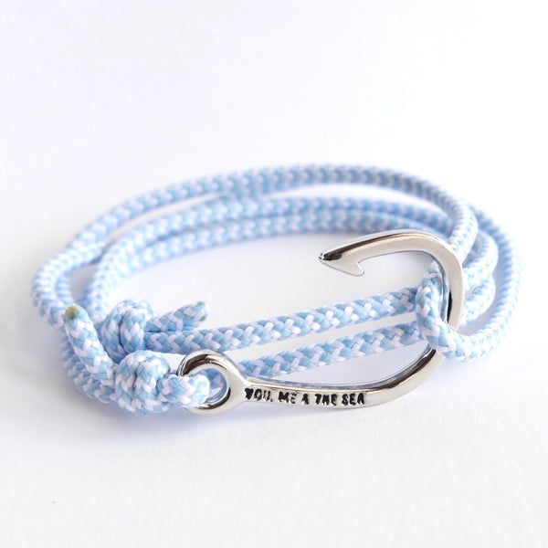 Nautical Rope Bracelet Hook Silver Powder Blue and White