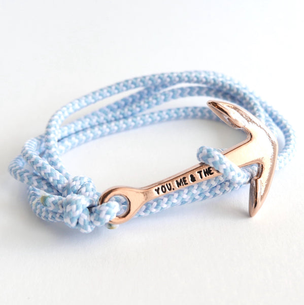 Nautical Rope Bracelet Anchor Rose Powder Blue and White