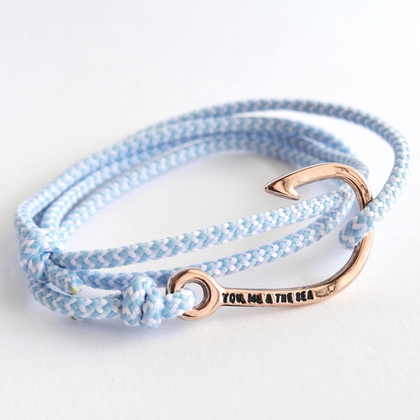 Nautical Rope Bracelet Hook Rose Powder Blue and White