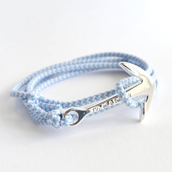 Nautical Rope Bracelet Anchor Fine chrome Powder Blue and White
