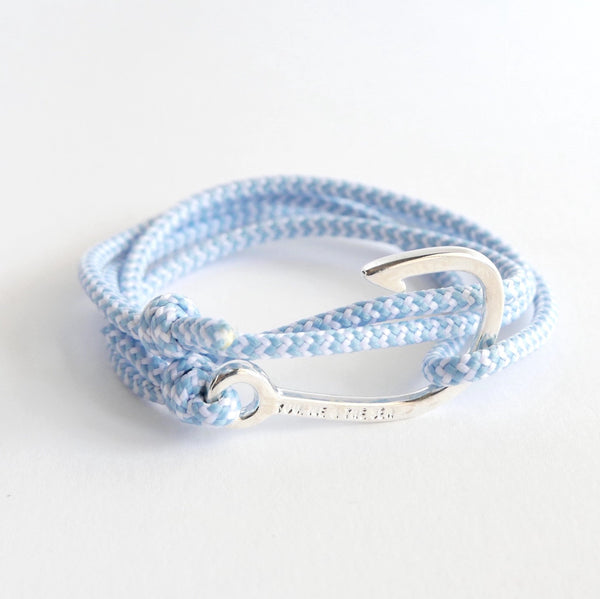Nautical Rope Bracelet Hook Fine chrome Powder Blue and White
