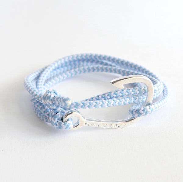 Nautical Rope Bracelet Hook Fine Silver Powder Blue and White