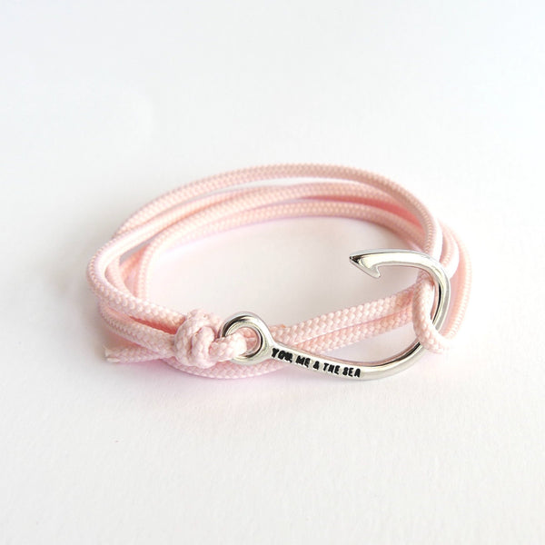 Nautical Rope Bracelet Hook chrome Blush