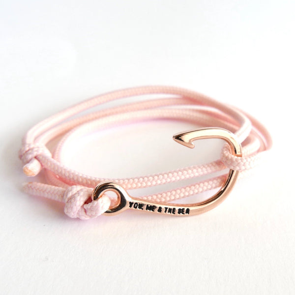 Nautical Rope Bracelet Hook Rose Blush