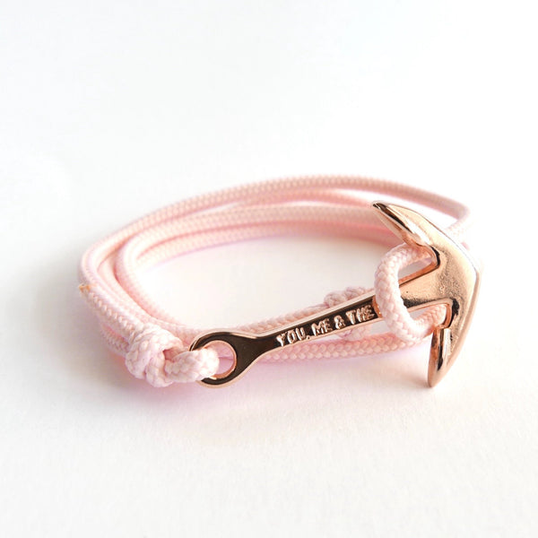 Nautical Rope Bracelet Anchor Fine Rose Blush