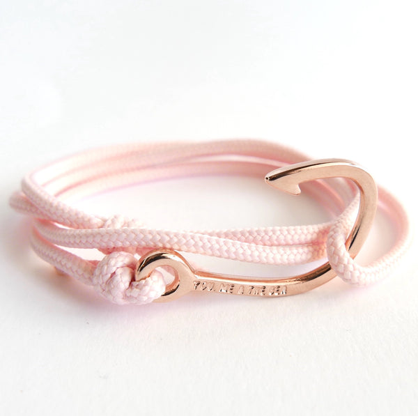 Nautical Rope Bracelet Hook Fine Rose Blush