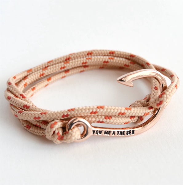 Nautical Rope Bracelet Hook Rose Sand and Terracotta