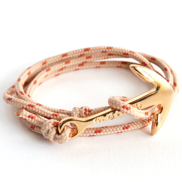 Nautical Rope Bracelet Anchor Fine Gold Sand and Terracotta