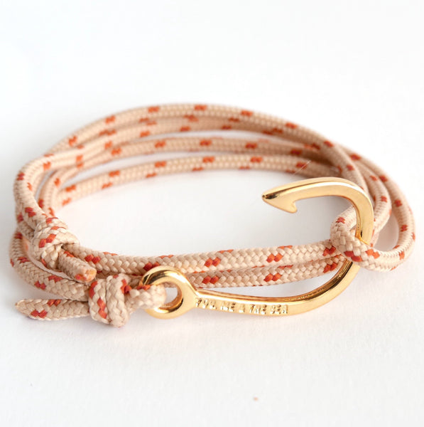 Nautical Rope Bracelet Hook Fine Gold Sand and Terracotta
