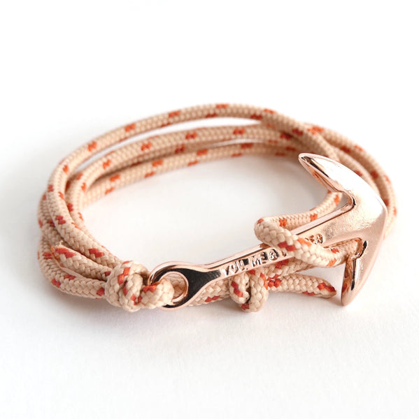 Nautical Rope Bracelet Anchor Fine Rose Sand and Terracotta