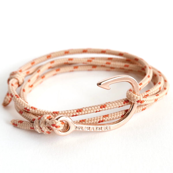 Nautical Rope Bracelet Hook Fine Rose Sand and Terracotta