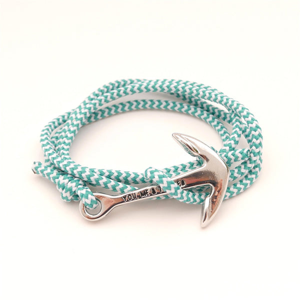 Nautical Rope Bracelet Anchor chrome Ibiza White Stripe