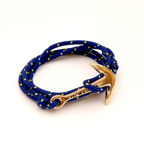 Nautical Rope Bracelet Anchor Gold Navy Yellow