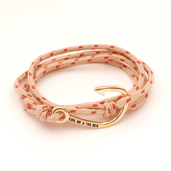 Nautical Rope Bracelet Hook Gold Sand and Terracotta