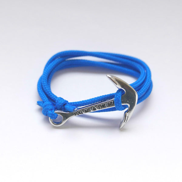 Nautical Rope Bracelet Anchor Silver Royal Blue
