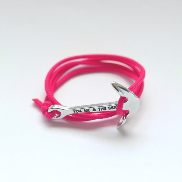 Nautical Rope Bracelet Anchor Silver Fuchsia