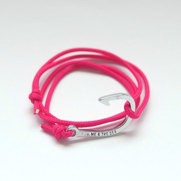 Nautical Rope Bracelet hook Silver Fuchsia