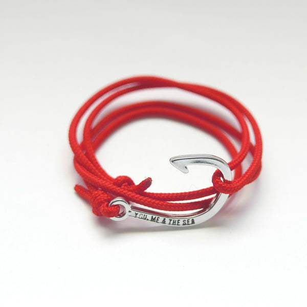 Nautical Rope Bracelet hook Silver Red