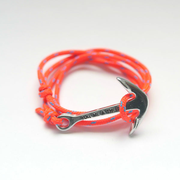 Nautical Rope Bracelet Anchor Silver Fluor Coral Ocean Blue