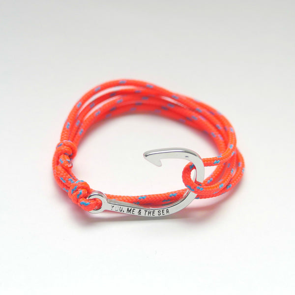 Nautical Rope Bracelet hook Silver Fluor Coral Ocean Blue