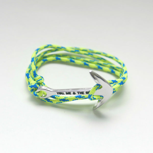 Nautical Rope Bracelet Anchor Silver Fluor Yellow Royal Blue