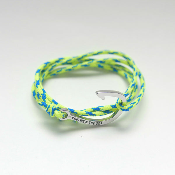 Nautical Rope Bracelet hook Silver Fluor Yellow Royal Blue
